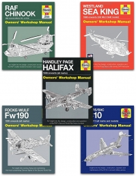 Haynes Aviation Manual 5 Books Collection Set (Vickers VC10, Handley Page Halifax, Focke Wulf FW190, RAF Chinook, Westland Sea King) Photo