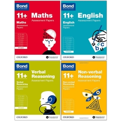 Bond 11 English, Maths, Non-verbal Reasoning, Verbal Reasoning Assessment Papers 4 Books Set - Age 5-6 by Bond
