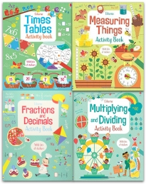 Usborne Maths Activity Collection 4 Books Set (Fractions and Decimals, Measuring Things, Times Tables, Multiplying and Dividing) Photo