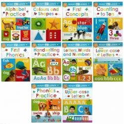 New Ready Set Learn 10 Early Learning Wipe Clean Books Colours Shapes Numbers Phonics Handwriting Counting Ages 3+ Photo