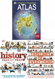 Timelines of Everything History 3 Books Collection Set (Timelines of Everything, Atlas, History year by year) Photo