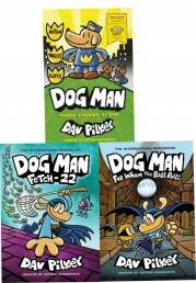 Dog Man 3 Books Collection Set 7, 8 & World Book Day 2020 By Dav Pilkey (Dog Man: For Whom the Ball Rolls, Fetch-22) Photo