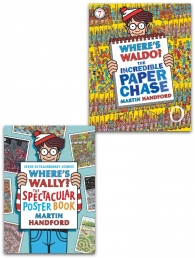 Where's Wally The Incredible Paper Chase and The Spectacular Poster Book 2 Books Collection Set Photo