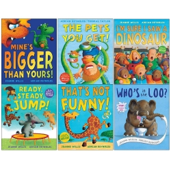 Jeanne Willis 6 Books Collection Set (Mines Bigger than Yours, The Pets You Get, Im Sure I Saw a Dinosaur, Ready Steady Jump, That Photo