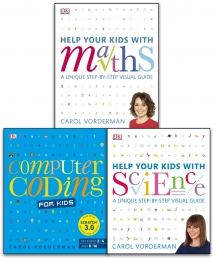 Help Your Kids With Maths, Science & Computer Coding 3 Books Collection Set by Carol Vorderman Photo