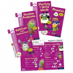 Progress With Oxford Addition Subtraction, Number Problems, Phonics, Starting to Write Words 4 Books Set (Age 4-5) Photo