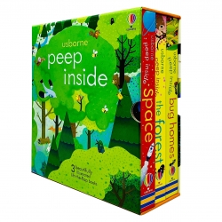 Usborne Peep Inside Lift-the-Flap Series 3 Books Collection Box Set (Space, The Forest & Bug Homes) Photo
