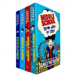 James Patterson Middle School Collection 4 Books Set (Book 10-13) (From Hero to Zero, Born to Rock, Master of Disaster, Field Trip Fiasco) Photo
