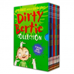 Dirty Bertie Collection 10 Books Box Set with CDs by David Roberts (Zombie!, Pirate!, Rats!, Fame!, Smash!, Horror!, Jackpot!, Aliens!, Scream!...) Photo