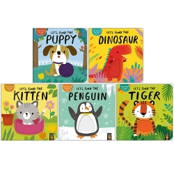 Lets Find The Animals Felt Lift The Flap Collection 5 Books Box Set by Alex Willmore (Puppy, Dinosaur, Kitten, Penguin, Tiger) Photo