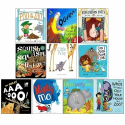 Zoo Series 10 Picture Flat Books Collection Set (Quiet, Little Why, Poo in the Zoo, Mighty Mo, The Great AAA-OOO!, Can I Join Your Club & MORE!) Photo