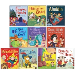 Fairytale Classics 10 Picture Flat Children Books Collection Set Sleeping Beauty, Jack and the Beanstalk, Rumpelstiltskin, Three Billy Goats and More Photo