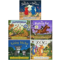 Julia Donaldson 5 Books Collection Set - The Smeds and The Smoss, Super Worm, Highway Rat, Tabby Mctat, Zog Photo
