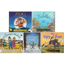 Julia Donaldson Collection 5 Books Set (Zog and the Flying Doctors, Tiddler, The Scarecrows Wedding, Stick Man, The Ugly Five) Photo