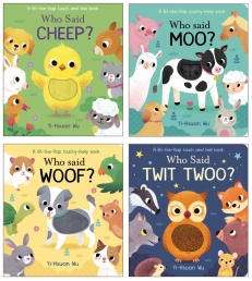 Who Said That Series Lift the Flap Touch and Feel 4 Books Collection Set By Yi Hsuan Mu (Moo, Woof, Twit Twoo & Cheep) Photo