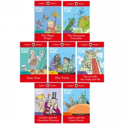 Ladybird Readers Roald Dahl Series 7 Books Collection Set (Level 1 - 4) (Twits, James and the Giant Peach, Enormous Crocodile, Esio Trot and More) Photo