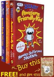 Diary Of An Awesome Friendly Kid Collection 4 Books Set by Jeff Kinney Adventure, Spooky Stories Photo