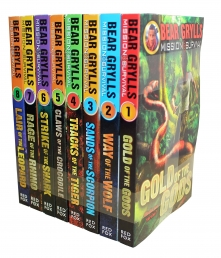 Bear Grylls Mission Survival Collection 8 Books Set Claws of the Crocodile, Sands of the Scorpion, Gold of the Gods, Way of the Wolf Photo