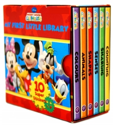 Disney Mickey Mouse Clubhouse Little Library 6 Books Collection Set (Colours, Animals, Shapes, Senses, Sharing, Counting) [Board book] by Disney