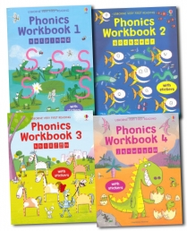 Usborne Phonics Workbook Collection 4 Books Set Photo