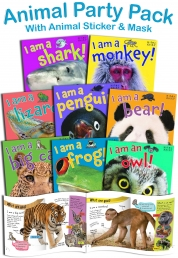 Animal Party Pack 8 Books Children Collection Set including 8 MASKS & STICKERS by Belinda Gallagher