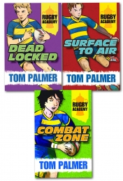 Rugby Academy Tom Palmer Collection 3 Books Set Children Dyslexia Friendly Dead Locked Surface to Air Combat Zone Photo