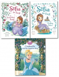Disney Princess Story 3 Book Children Pictures Flat Collection Sofia, Cinderella by Disney