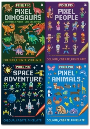 Craft Projects for Pixel Art Fans, contains Pixel Pix, Children Colouring, Painting Activity, 4 Books Set by Joshua George