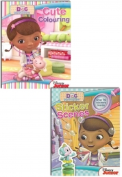 Disney Junior Doc McStuffins Colouring and Sticker Learning Activity 2 Book Set (Doc McStuffins Cute Colouring Book, Doc Mcstuffins Sticker Scenes) by Disney