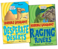 Horrible Geography Collection 2 Books Set Racing Rivers, Desperate Deserts Photo