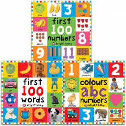 Bright Baby First 100 Collection 3 Books Set (Colours ABC Numbers, First 100 Numbers, First 100 Words) Photo