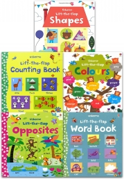Usborne Lift the Flap Collection 5 Books Set (Usborne Lift-the-Flap-Books) (Counting Book, Word book, Shapes, Colours, Opposite) Photo