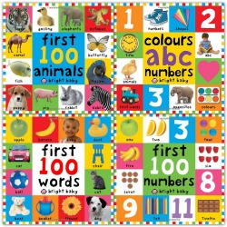 Bright Baby First 100 Collection 4 Books Set Colours ABC Numbers First 100 Numbers First 100 Words Photo