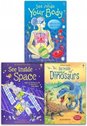Usborne See Inside Collection 3 Books Set (Space, Dinosaurs, See your Body inside) (Series 1) Photo
