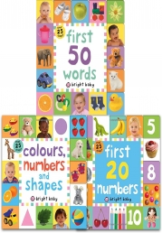 Lift-the-Flap Tab Books Collection 3 Books Set (Preschool Skills, Early Learning) (Colours, Numbers and Shapes, First 20 Numbers, First 50 Words) Photo
