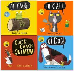 Kes Gray Collection 4 Books Set (Oi Frog, Oi Dog, Quick Quack Quentin, Oi Cat) by Kes Gray (Author), Jim Field (Illustrator)