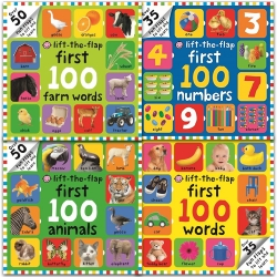 First 100 Lift-the Flap Collection 4 Board Books Set (First 100 Words, First 100 Farm Words, First 100 Number, First 100 Animals) Photo