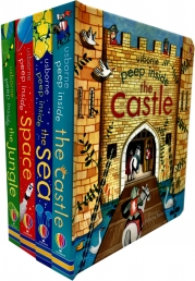 Usborne Peep Inside Collection 4 Books Set (Peep Inside Space, Sea, Jungle, Castle) Photo