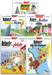 Asterix Series 1 Collection 5 Books Set (Book 1-5) (Asterix the Gaul, the Golden Sickle, the Goths, the Gladiator, the Banquet) by Rene Goscinny, Albert Uderzo