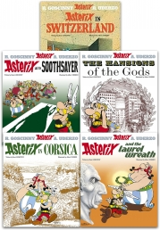 Asterix Series 4 Collection 5 Books Set (Book 16-20) (Asterix in Switzerland, The Mansions of The Gods, Laurel Wreath, Soothsayer, in Corsica) Photo