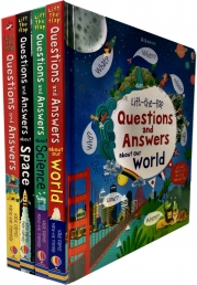 Usborne Lift-the-flap Questions and Answers Collection 4 Books Set by Katie Daynes (Series 3)(World, Space, Science, Lift the Flap Questions & Answer) Photo
