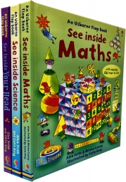 Usborne See Inside Collection 3 Books Set (Maths, Science, See your Body Head) (Series 2) Photo