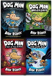 Adventures of Dog Man Collection Dav Pilkey 4 Books Set (Dog Man, Unleashed, A Tale of Two Kitties, Dog Man and Cat Kid) Photo