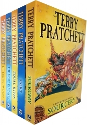Discworld Novel Series 1 Terry Pratchett Collection 5 Books Set (Book 1-5) (The Colour Of Magic, The Light Fantastic, Equal Rites, Mort, Sourcery) Photo