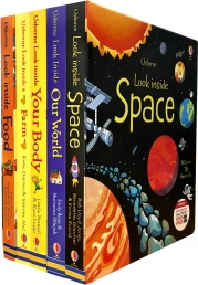 Usborne Look Inside Collection 5 Books Set (Space, Farm, Our World, Food, Your Body) Photo