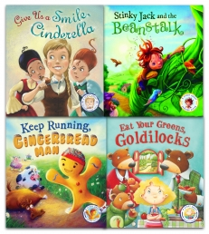 Steve Smallman Fairytales Gone Wrong Series Collection 4 Books Set (Jack and the Beanstalk, Eat Your Greens Goldilocks, Give Us A Smile Cinderella) Photo