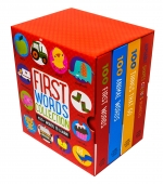 First Words Collection 4 Books Box Set (400+ Words to Learn)(100 Animal Words, 100 Things That Go, 100 First Words, Alphabet Shapes Colours Numbers) by Dawn Machell