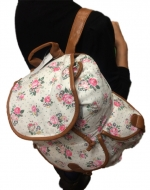 Ladies Womens Floral Canvas Rucksack Backpack Shoulder School College Gym Bag by